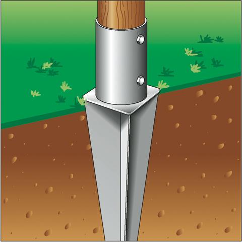 Supporti Per Pali In Legno Tondi.Supporto Zincato Di Ancoraggio Palo In Legno O 80 Nel Terreno