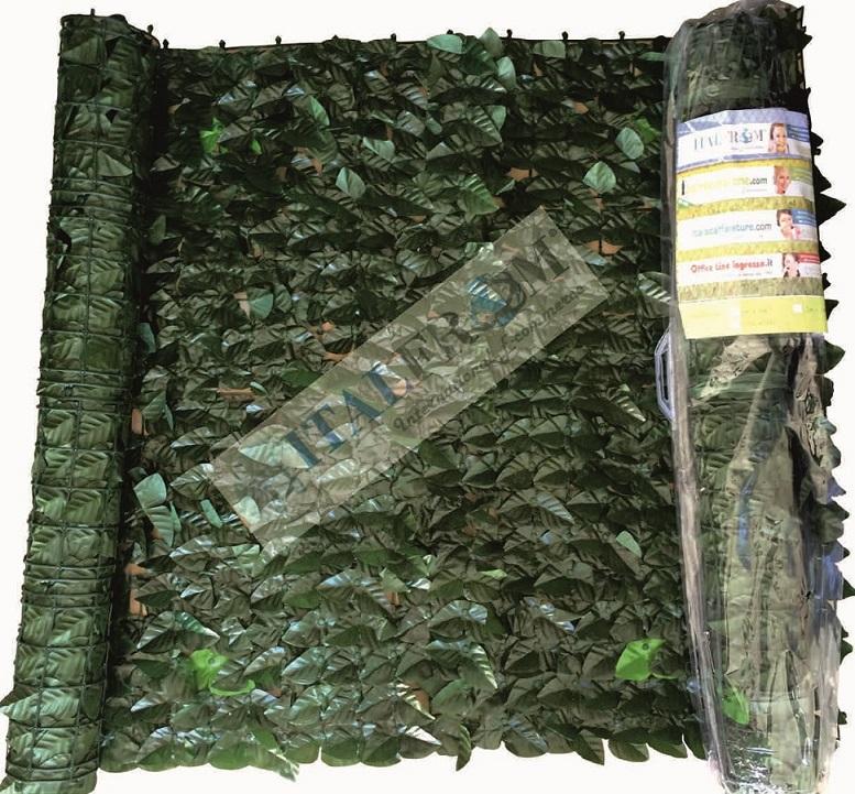 Siepe finta artificiale a rotolo foglie di lauro for Rete con foglie finte